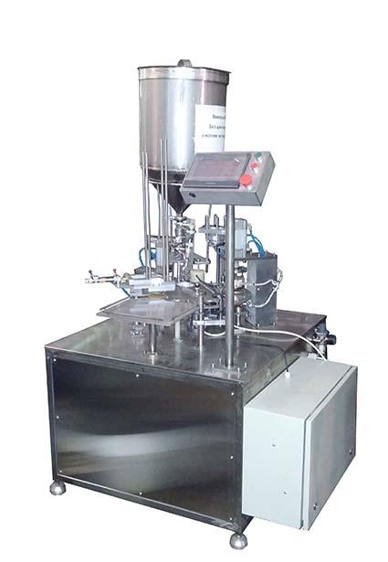 Automatic Cup Fill Seal foil or  film packing machine AF-1500 is suitable for packing liquids and dairy products in plastic cups with sealing by foil or film and lid for juice, drink, sour cream