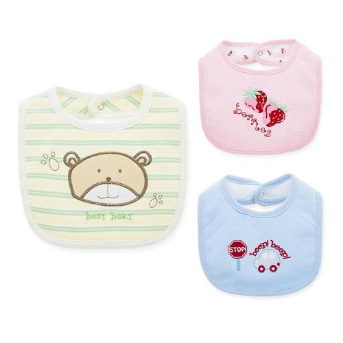 Pure organic and natural cotton baby bibs.