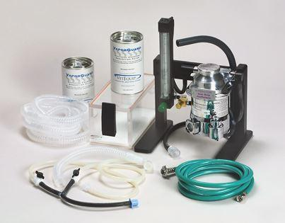 """Every """"Lab Animal System"""" comes with an Accessory Kit containing a ten foot oxygen hose, flowmeter, oxygen flush assembly, vaporizer, breathing circuit, chamber, nosecones, waste gas"""