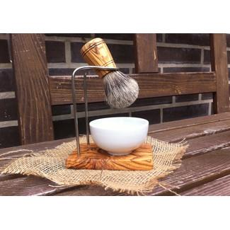 Holder for shaving brush badger hair. The handle is made of olive Wood.