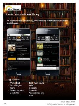 An application for purchasing, downloading, reading and listening to audio books.
