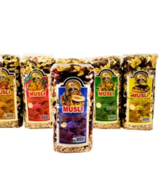 Mixture of wheat, barley, oat with addition of various fruits and nuts . Weight:800g, 400g.Assortment: Elite, Tropic, Fruit,Nut-Banana, Honey-Nut