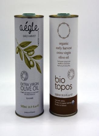 Biotopos and Aegle early harvest olive oils