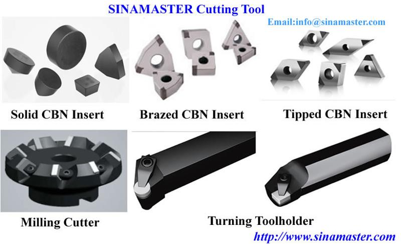 Brazed CBN Insert: Lower Cost with Multiple Edges can use, can produce by ISO sizes: WNGA080408, TNGA160416, CNGA120412, VNGA160412, DNGA150412.