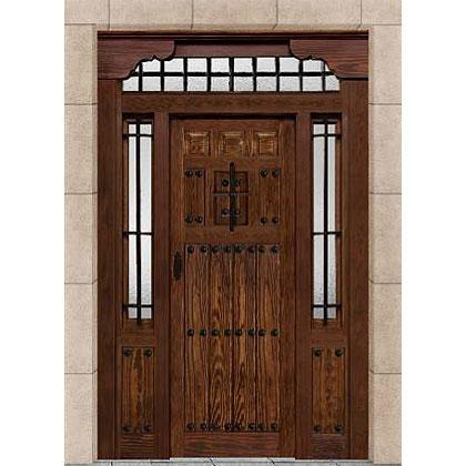 Porton exterior de madera maciza en nogal de estilo rústico