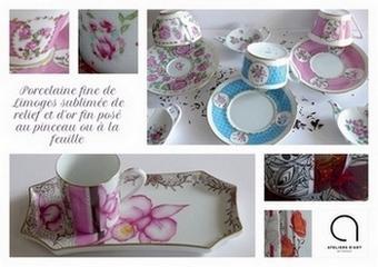 Du décor classique au décor moderne l'atelier porcelaine vous propose des collections arts de la table en porcelaine de Limoges