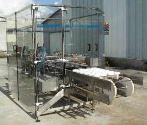 Dépose en automatique de fromages sur deux convoyeurs. Fabricant de machines d'emballage fromages.