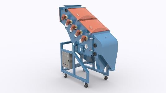 Przesiewacz wibracyjny membranowy typu PWMb (napęd bezwładnościowy) lub PWM ( napęd elektromagnetyczny) służy do wysoko wydajnego rozsiewania materiałów sypkich, średnio i drobnoziarnistych