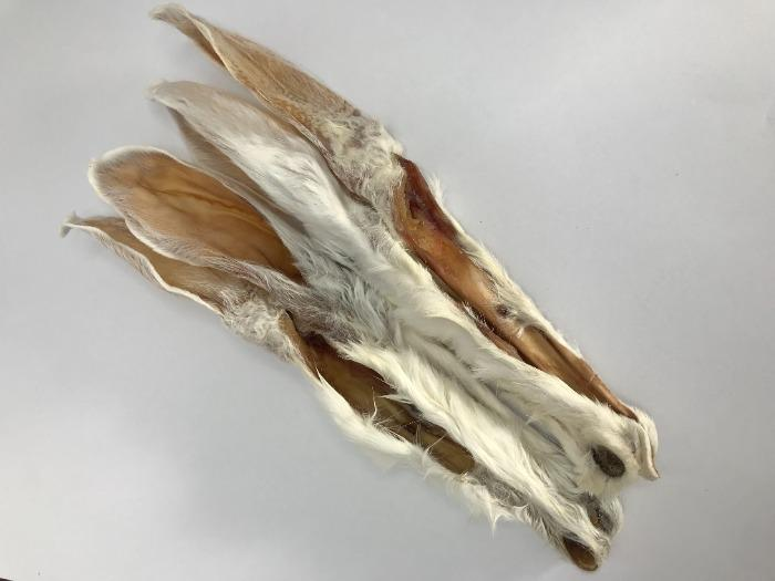 Dried rabbit ear with fur