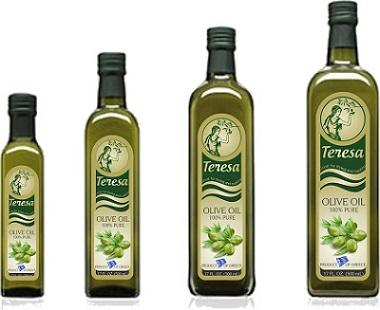 TEREZA  olive oil available in glass bottles of 250ml ,500ml,750ml and 1 lt.Also available TEREZA as premium extra virgin olive oil,in glass bottles of 250ml,500ml,750ml,1 lt