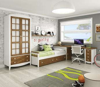 dormitorio infantil de diseño en madera natural y lacado.