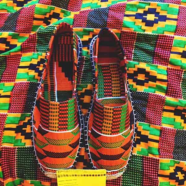 Shoes made with african kente cloth and jute sole.
