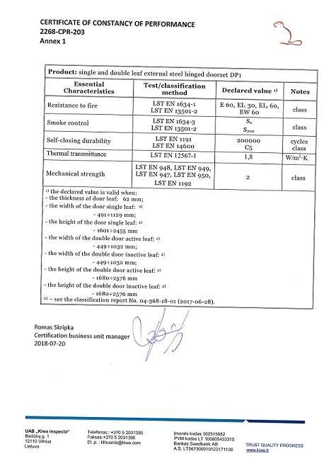 EU Certificate fire doors EI-60 page 2