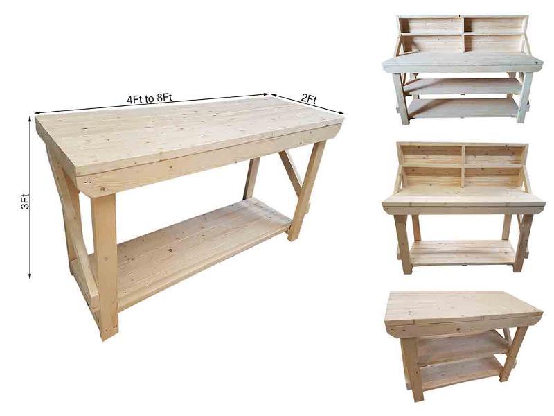 Wooden workbench kiln-dry timber, super heavy-duty