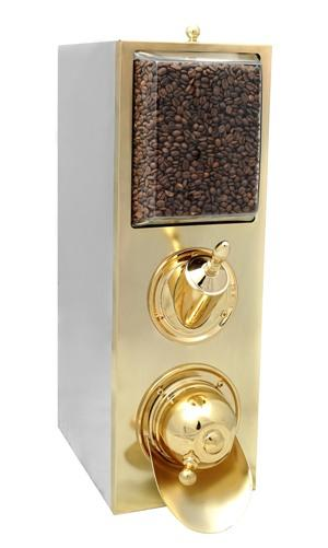 Coffee Bean Dispenser manufactured in stainless chrome metal sheet frame, polished internal surface, except the brilliant frontal surface which is plated brass.