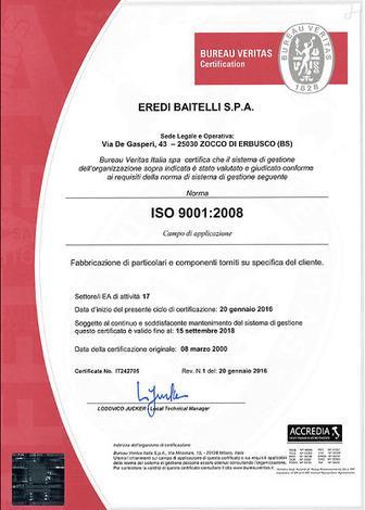 In ragione del sistema di gestione della Sicurezza e della Salute dei Lavoratori, la Eredi Baitelli è in possesso anche della certificazione OHSAS 18001
