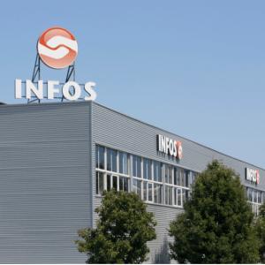 Imagem do Edifício Sede da INFOS, na Rua Veloso Salgado, 971/1011, 4450-801, Leça da Palmeira.  A Delegação Sul está localizada na Rua Pedro e Inês, nº 3 - E4, 1990-074, Lisboa