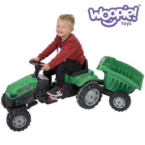 WOOPIE Green Tractor Farmer GoTrac MAXI on Pedals with a Trailer