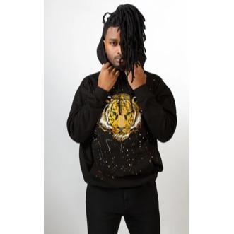 Sweat noir à capuche - Tiger