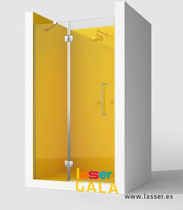 La Mampara Gala es una de nuestras soluciones, para un espacio angular en tu baño. Se compone en el frontal, de una pieza fija y una puerta practicable en línea. El lateral consta de una pieza fija