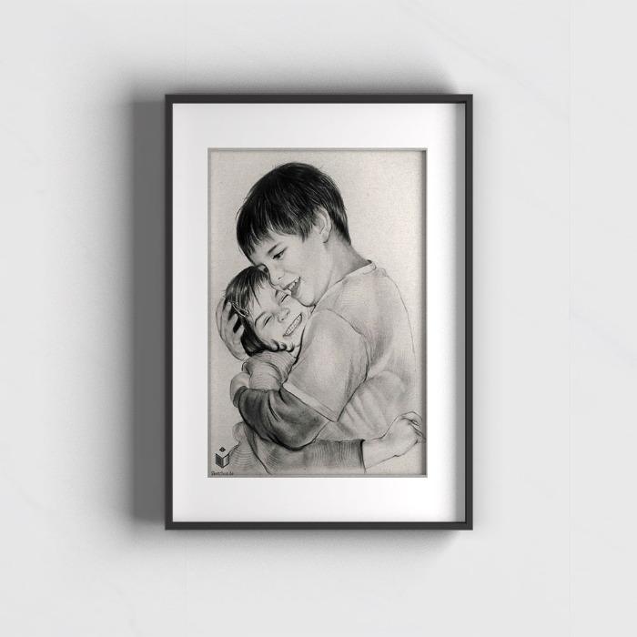 Premium Portrait professionell vom Foto Vorlage zeichnen lassen