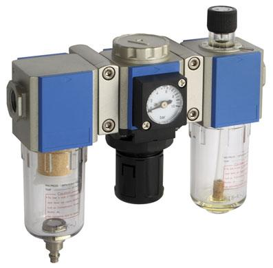 Pneumatic filtration, fittings and adapter fittings in brass, steel, stainless and poly. mass line of metric push-in fittings.