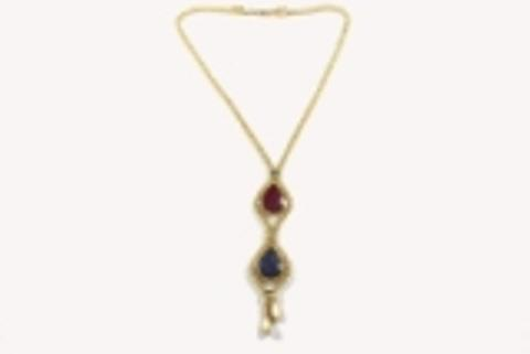 Necklace made of brass with natural stone