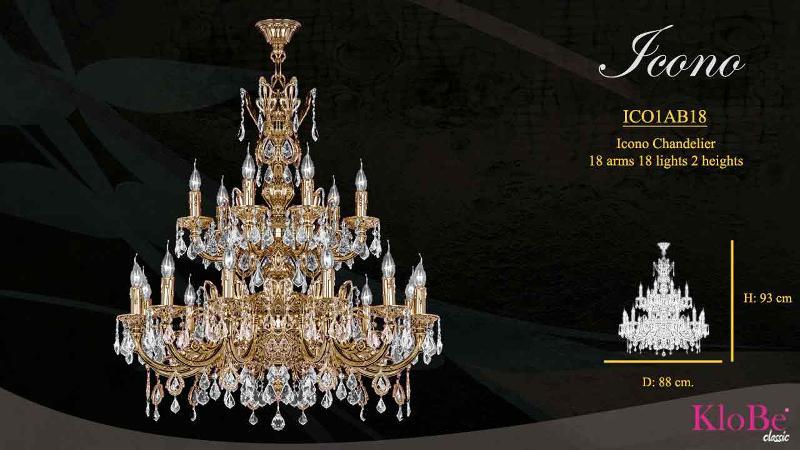 Luminaria de estilo clásico con 18 brazos y 18 luces, disponible en varias decoraciones, fabricadas en latón, con o sin cristal, conoce toda la colección en nuestra web. 88x93 cms.