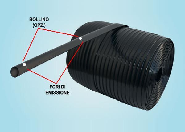 Il prodotto può essere realizzato con o senza fori [manichetta cieca]. I fori possono essere eseguiti alla distanza richiesta ed il diametro del foro può variare da 0,5 mm. a mm. 4.