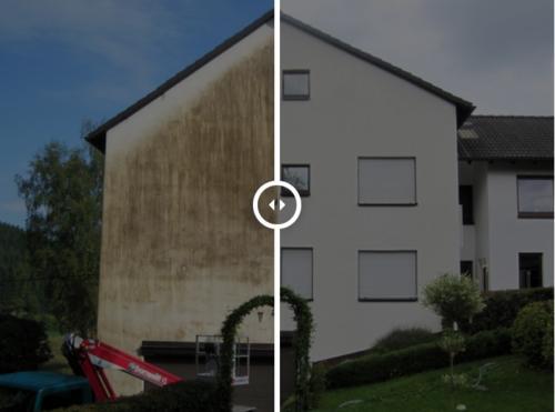 Fassadenreinigung vorher-nachher