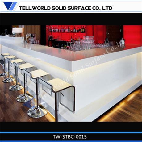 Modern white solid surface bar counter
