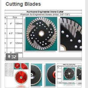 We carry a wide variety of the highest quality diamond blades from turbo blades to electroplated blades for cutting granite, engineered stone, marble. Our premium blade fits on most angle grinder.
