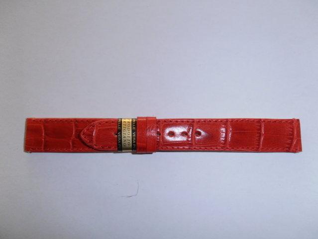 cinturino in Vera Pelle Stampato Alligatore Colore Rosso