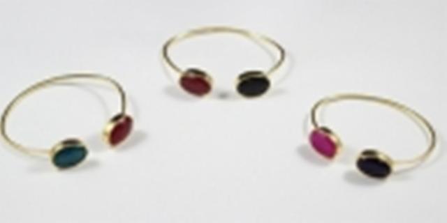 Brass bracelet with natural stone