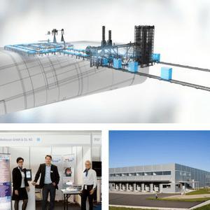 Oben: Mediscan Dual-Line Anlage Prinzipskizze, Links: Messeauftritt Medtec 2016, Rechts: Werk Rohr Aussenansicht