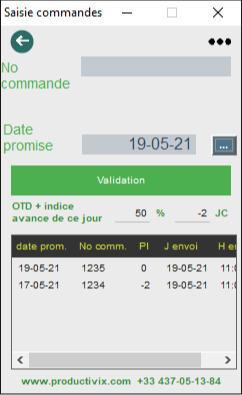 logiciel de mesure du taux de service et dates d'envoi des commandes