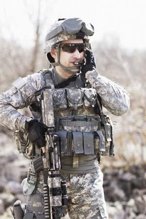 Soldier wearing high performance protective fabrics from Rivertex. Breathable, waterproof, water repellant, IRR.
