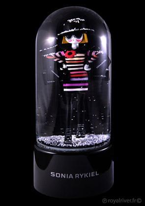 Boule à neige Snowblob'art musicale et collector Sonia Rykiel. Dôme en verre, figurine peinte à la main. Made in France