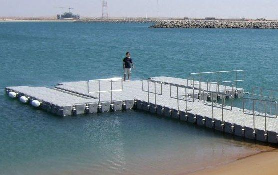 Pontoon used as a temporary dock