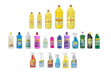 The main product groups are bleach, bathroom/toilet cleaners, degreasers, lime removers, glass/floor cleaners, washing-up liquid, stain removers, fabric softeners and liquid soaps.