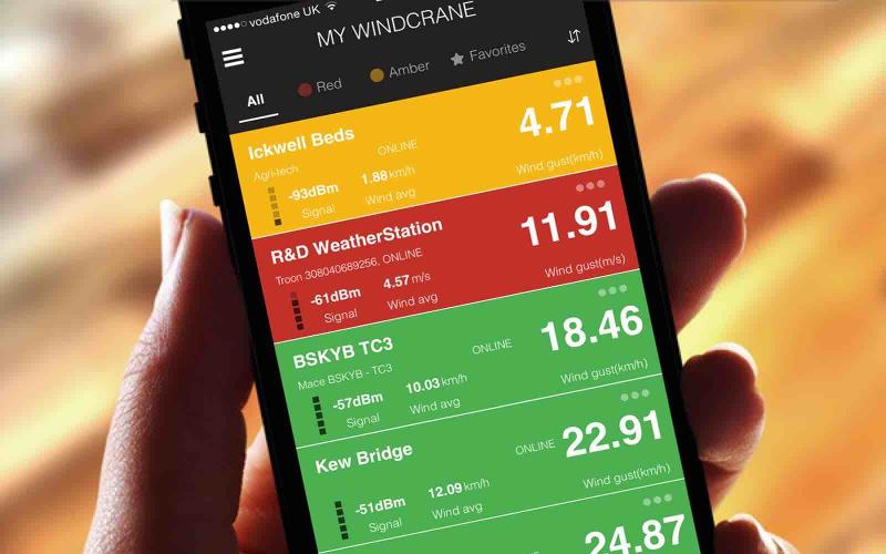 Mobile phone APP for Windcrane wind speed monitoring product by Logic Energy Ltd.