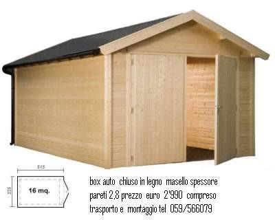 box  auto  in legno massiccio  misure  5,20x 300