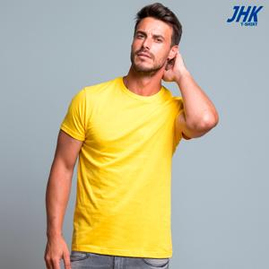 OCEAN Camiseta lisa de manga corta para hombre con cuello redondo y 100% algodón