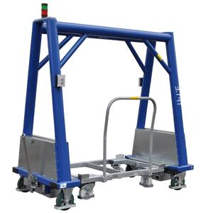 Equipped with an electrical lift function to independently pick up the frame carts in Euro or industrial format and to securely transport them within the tugger train system.