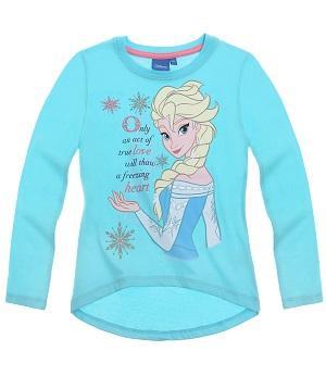 Süßes Langarmshirt von Disney Die Eikönigin in türkisblau mit hochwertigem Glitzeraufdruck; 100% Baumwolle