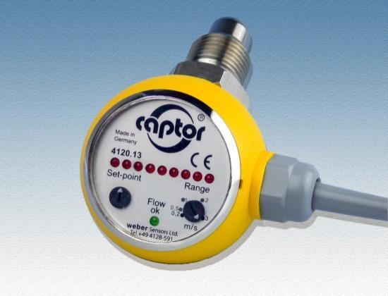 Strömungswächter für flüssige Medien bis 100 bar / hohe Genauigkeit auch im unteren Strömungsbereich / separate Einstellung für Bereich und Schaltpunkt / LED-Anzeige des Ausgangsstatus'