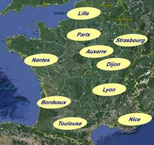 Les implantations de la Compagnie de Recouvrements de Créances Européennes (C.R.C.E.) : Auxerre, Bordeaux, Dijon, Lille, Lyon, Nantes, Nice, Paris, Strasbourg et Toulouse