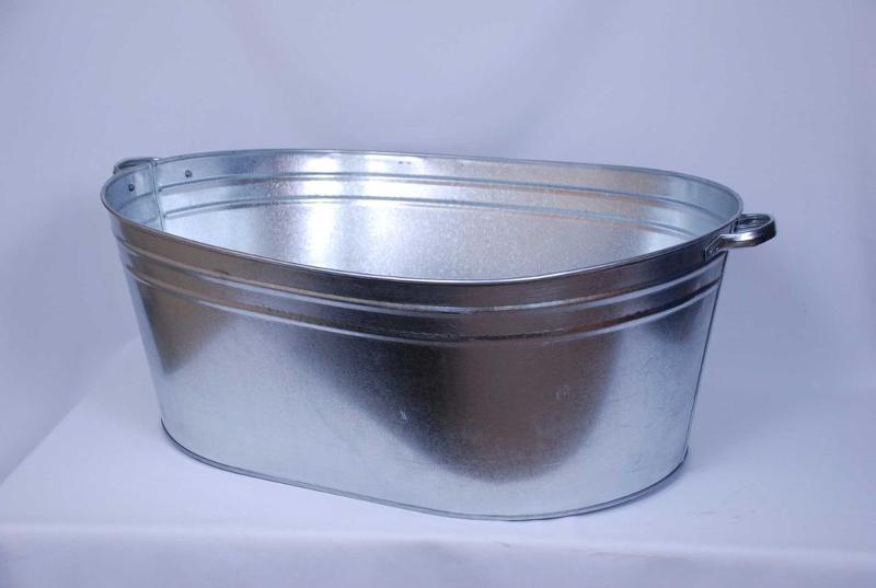Galvanized oval bath