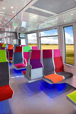 Exemple de réalisation de Compin pour l'aménagement intérieur ferroviaire: une ambiance lumineuse.
