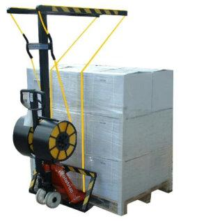 Two plastic straps around a pallet in just 6-8 seconds using a pallet pump truck.Pallet is strapped whilst on the truck and can be immediately moved on completion of strapping operation. info@pscl.co.